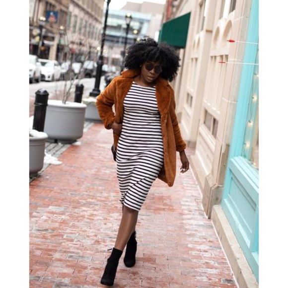 J. Crew Striped Long Sleeve Cotton Midi Dress